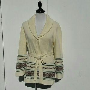 Vintage 70's Navajo Print Belted Cardigan